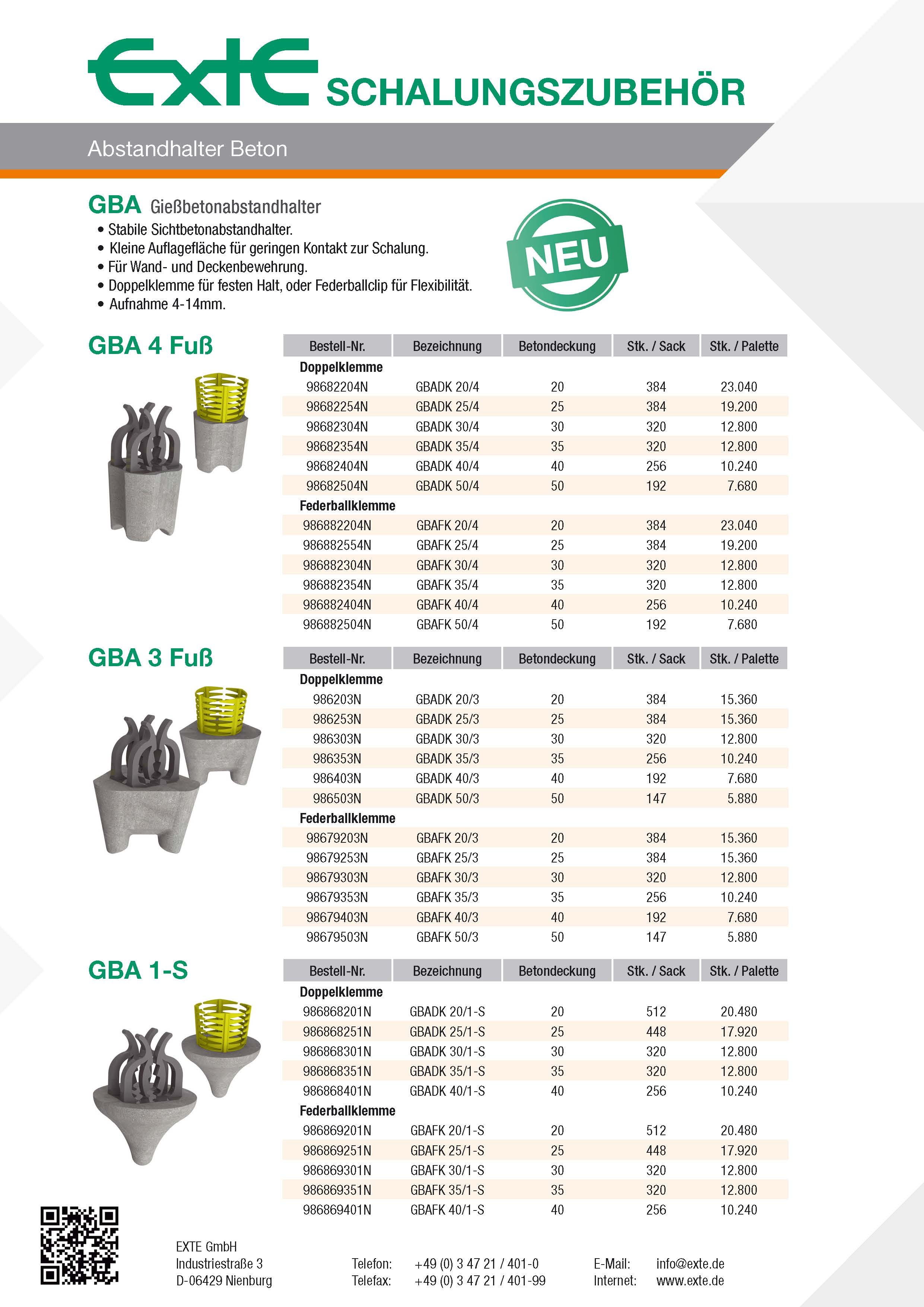 Produktblatt A4 - GBA - dt